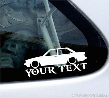 2x Custom YOUR TEXT Lowered car stickers - Toyota Carina TA63 (A60) Sedan